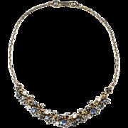 Hollycraft 1950s Moonstone & Blue Rhinestone Necklace