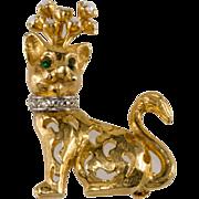 Jeanne Goldtone & Rhinestone Cat Pin Brooch