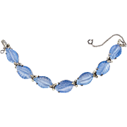 Jomaz Blue Molded Glass Leaf Bracelet Vintage