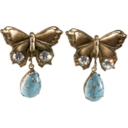 Joseff of Hollywood Butterfly Earrings Turquoise Blue