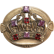 Joseff of Hollywood Purple & Red Rhinestone Crown Brooch Pin