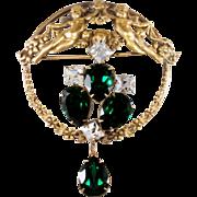 Joseff of Hollywood Rhinestone Cherubs Brooch Pin