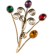 Joseff of Hollywood 5 Inch Jewel Tone Rhinestone Floral Spray Brooch