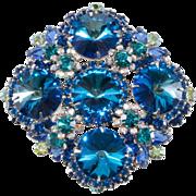 Juliana Bermuda Blue Rivoli Brooch Pin