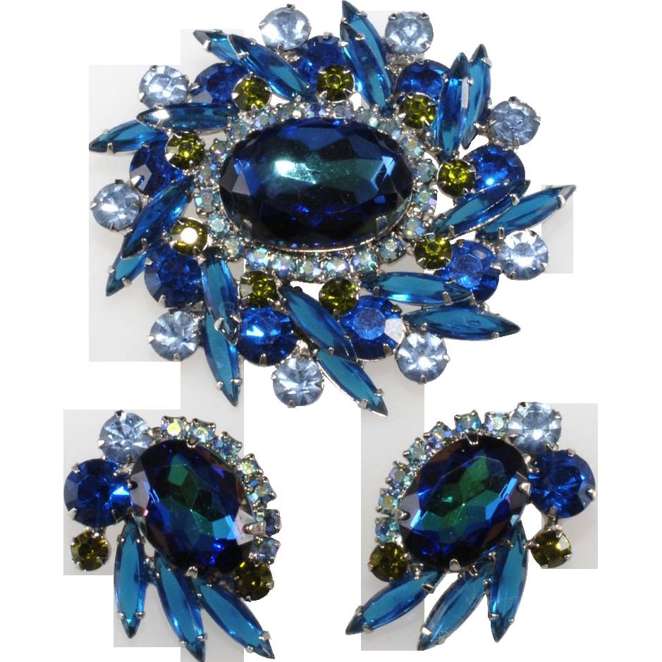 Juliana Blue Watermelon Rhinestone Brooch & Earrings Set