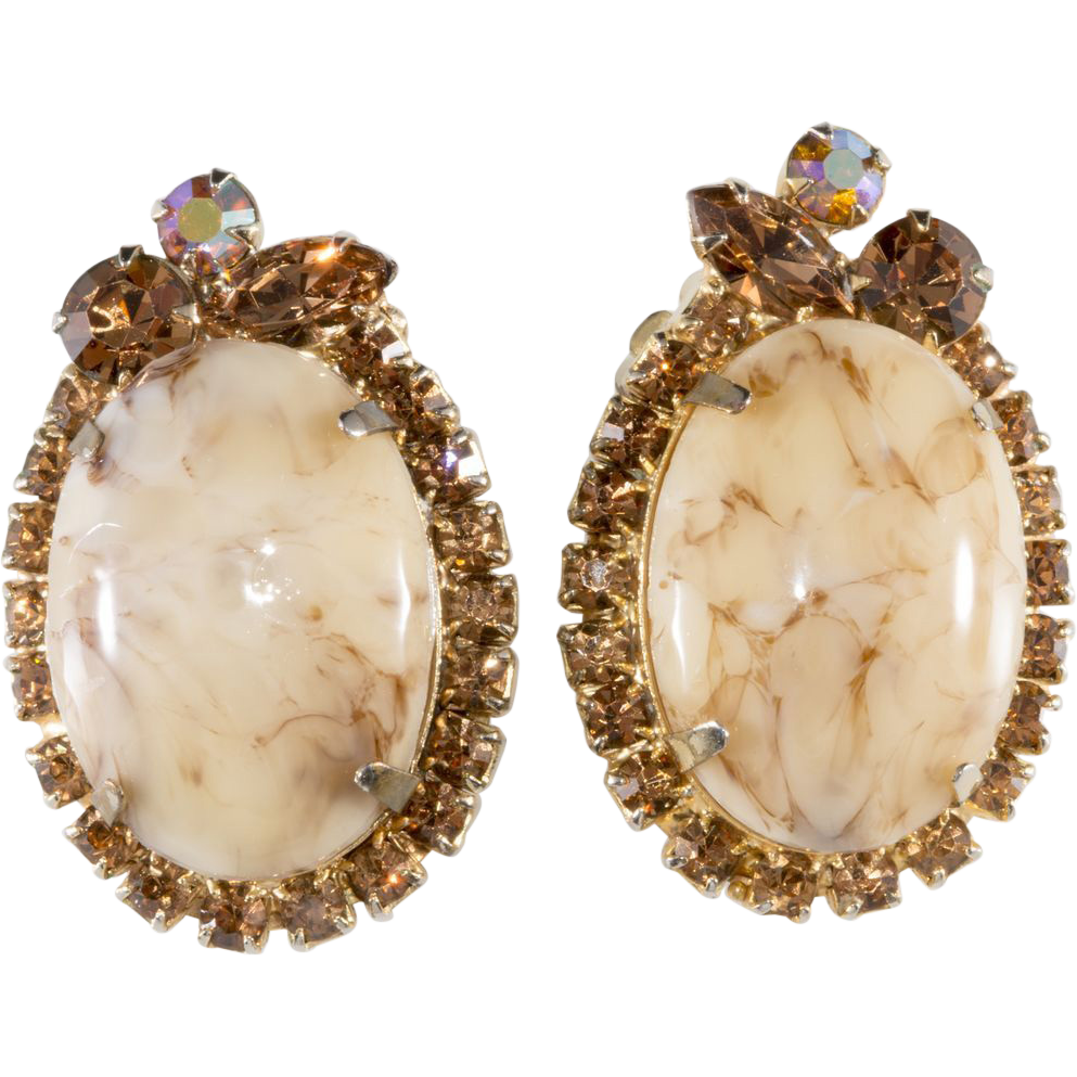 Juliana Italian Marble Honey Malachite Earrings