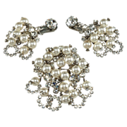 SALE Juliana Pearl & Rhinestone Dangles Brooch Earrings Set