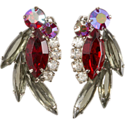 Juliana D&E Red & Gray Rhinestone Earrings