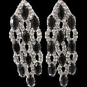 """Kenneth Jay Lane KJL 3 1/2"""" Black Clear Rhinestone Dangle Earrings"""