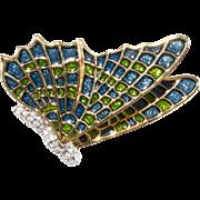 Kenneth Jay Lane KJL Blue Green Enamel Butterfly Brooch Pin