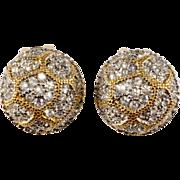 K.J.L. Rhinestone Button Earrings