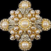 Kenneth Jay Lane Pearl & Rhinestone Brooch Pin Pendant