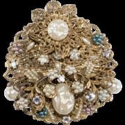 Large Filgree Brooch Pin w/ Faux-Pearls & Rhinestones