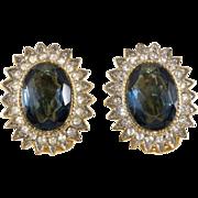 Les Bernard Sapphire & Clear Rhinestone Earrings