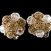 Lisner Crystal & Filigree Bead Earrings