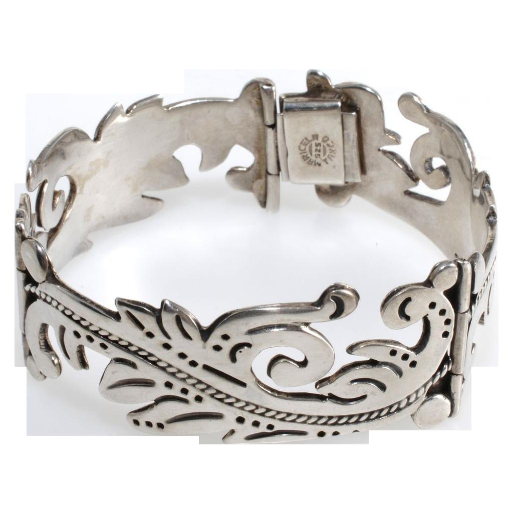Maricela Mexican Silver Sterling Scroll Bracelet