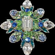 Marie Ferra' LARGE Blue & Green Rhinestone Brooch