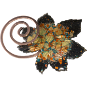 Matisse Renoir Copper Black Enamel Leaf Brooch Pin