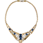 McClelland Barclay Sapphire Blue Rhinestone Art Deco Necklace