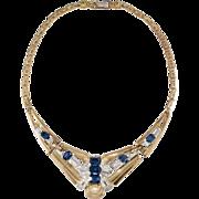 McClelland Barclay Sapphire Blue Rhinestone Art Deco Necklace