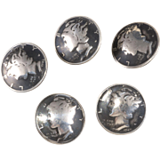 Mercury Dimes Coins Silver Button Set of Five Vintage