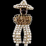 Rhinestone Mexican Man Brooch Vintage