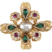 SOLD Mimi Di N 1960s Rhinestone Maltese Cross Brooch Pin