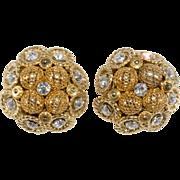 Monette Paris French Designer Rhinestone Cluster Earrings