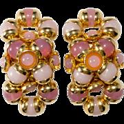 Monette of Paris Pink Bead Figure Eight Earrings