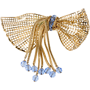 Napier Huge Bow Brooch Pin Dangling Blue Crystals Vintage