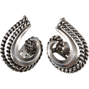 Napier Doris Day Silver Swirl Earrings
