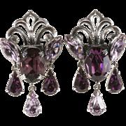 Napier 1950s Purple Dangle Rhinestone Earrings