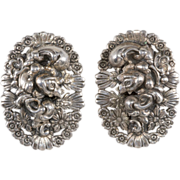 Napier 1950s Floral Motif Silver Plated Earrings