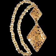 """Napier 1970s Textured 6"""" Pendant Necklace"""