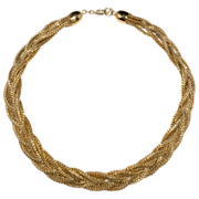 Napier Legacy Braided Gold Tone Collar Necklace
