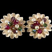 Napier Cornucopia Beaded Cluster Earrings