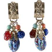 Napier Multi-color Dangle Earrings 1950s