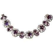 Napier Purple Rhinestone Silver Plated Bracelet Vintage 1950s
