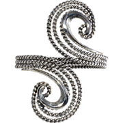 Napier 1950s Doris Day Silver Swirl Cuff Bracelet
