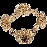 Napier 1950s Wire Sculpture Rhinestone Bracelet