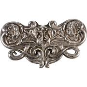 Art Nouveau Victorian Water Lily Silver Plated Buckle
