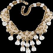 Napier Filigree Dangle Crystal Necklace Vintage 1950s
