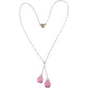 1920s Pink Crystal Briolette Necklace