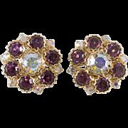 Purple and Iridescent Rhinestone Earrings 1950s Vintage