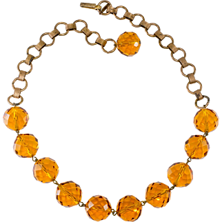 Regina Fashions Amber Glass Bead Necklace