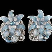 Robert Blue Enamel Flower & Bead Earrings