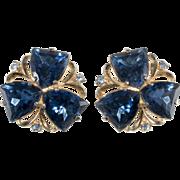 Schiaparelli Sapphire Blue Rhinestone Earrings