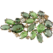 Schiaparelli Green Spray Brooch Pin 1950s