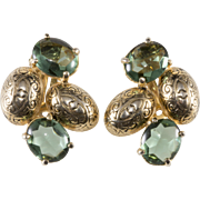 Schiaparelli Embossed Green Cabochon Earrings