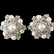 Schiaparelli Faux Pearl Rhinestone Earrings Vintage